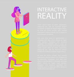 interactive virtual reality cartoon banner vector image
