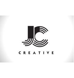 jc logo letter with black lines design line letter vector image