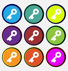 Key icon sign Nine multi-colored round buttons vector