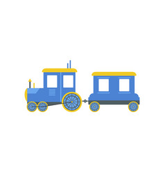 Kids cartoon blue toy train railroad toy with vector