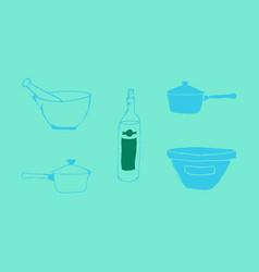 Kitchen set icon in vintage hand drawn style vector