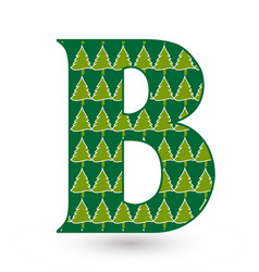 letter b christmas festive font icon vector image