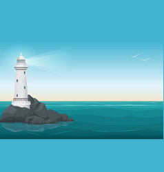 Lighthouse on rock stones island landscape vector