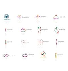 Logo set outline swirl and circle minimal vector image