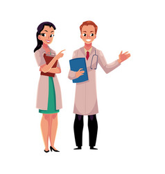 Male and female doctors in medical coats holding vector