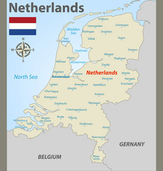 Map netherlands with cities vector