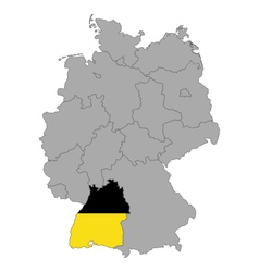 Map of Germany with flag of Baden-Wuerttemberg vector