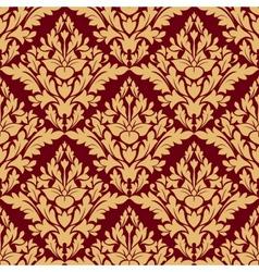 Maroon and orange damask seamless pattern vector image