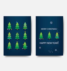 merry christmas template set holiday xmas trees vector image