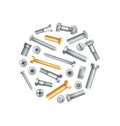 metallic bolts and screws isolated set vector image