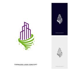 modern building tornado logo concept company vector image