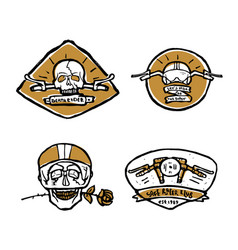 Moto biker theme icon set cafe racer vector