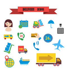 Multicolored icons with tape on topic delivery vector