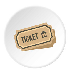 Museum ticket icon circle vector