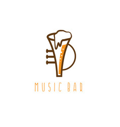 music bar concept with trumpet and beer vector image