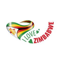 National flag zimbabwe in shape vector