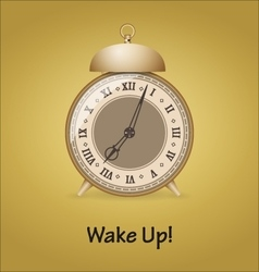 Old alarm clock isolated on gold background vector image