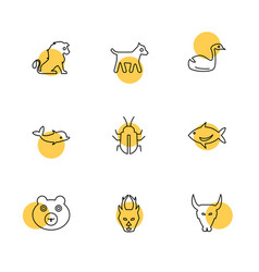 Pets animals wild birds insects eps icons set vector