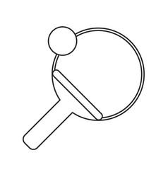 ping pong paddle ball thin line vector image