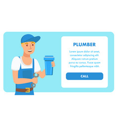 Plumbing services landing page template vector