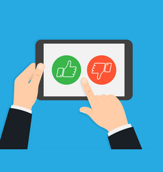 rating on customer service voting via tablet vector image