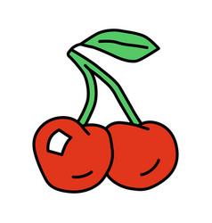 ripe cherries red color icon organic antioxidant vector image