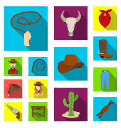 Rodeo competition flat icons in set collection vector