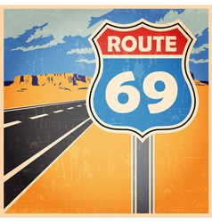 route old poster vector image