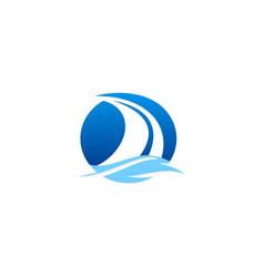 Sail boat ocean logo vector