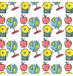 school tools with apple fruit background design vector image