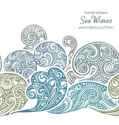 Seamless border pattern with hand drawn doodle sea vector