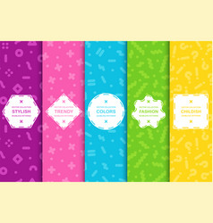 Set bright seamless memphis patterns colorful vector