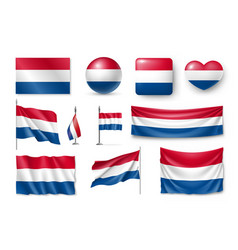 set netherland flags banners banners symbols vector image