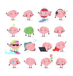 set of brain emoji emotion vector image