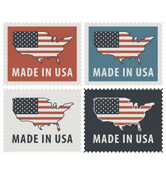 Set of four postage stamps with american flag vector