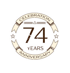 seventy four years anniversary celebration logo vector image