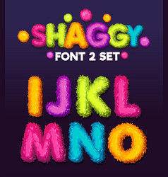 Shaggy font 3 set cartoon letters vector