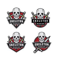 skeleton warrior emblem logo vector image