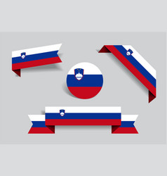 Slovenian flag stickers and labels vector