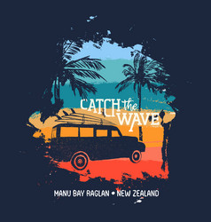 Surf summer holiday in new zealand beach with car vector