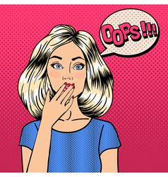 Surprised woman comic style pop art bubble oops vector