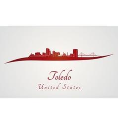 Toledo OH skyline in red vector