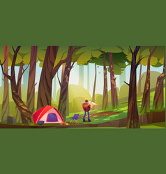 Traveler camp in forest tourist with backpack vector
