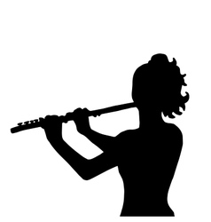 Very high quality of girl with flute vector
