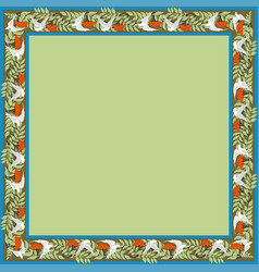 Vintage square frame with rowanberry and dove vector
