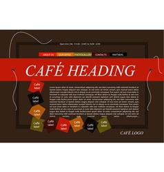 Website cafe template layout with text vector