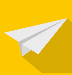 white paper plane icon flat style vector image
