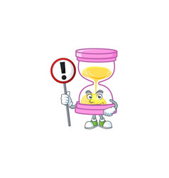 With sign cartoon sandglass with character mascot vector