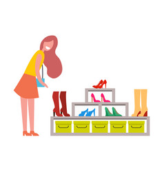 Woman near big shoes rack from modern boutique vector