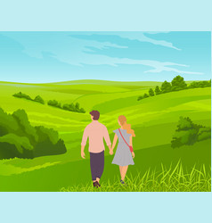 young couple or teenagers walk hand in hand vector image